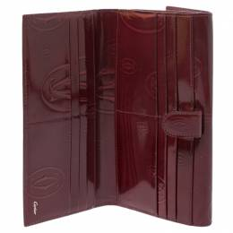 Cartier Maroon Patent Leather Happy Birthday Continental Wallet