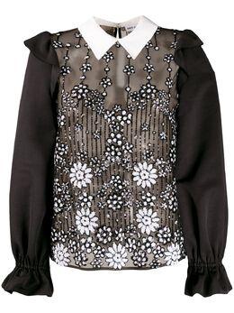 Self-portrait блузка с пайетками и оборками RS20144