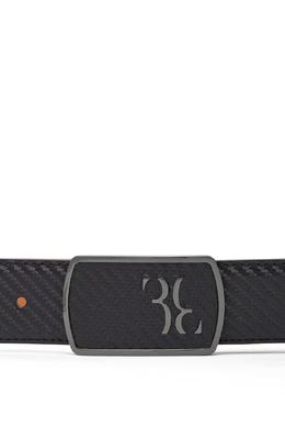 Черный кожаный ремень с серебристой пряжкой Billionaire 1668138576