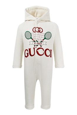 Белый комбинезон с вышивкой Gucci Kids 1256161974