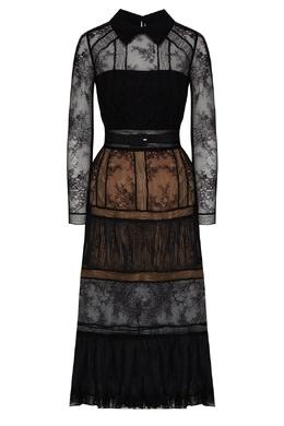 Черное платье из кружева Self-portrait 532172114
