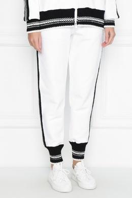 Белые брюки-джоггеры с отделкой Ermanno Scervino 1328171885