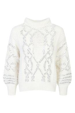Молочно-белый свитер с кристаллами Ermanno Scervino 1328171822