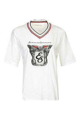 Белая футболка с аппликацией и V-вырезом Ermanno Scervino 1328171804