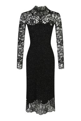 Черное блестящее платье с кружевом Ermanno Scervino 1328171674
