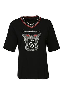 Черная футболка с V-вырезом и логотипом Ermanno Scervino 1328171802