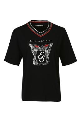 Черная футболка с аппликацией и V-вырезом Ermanno Scervino 1328171805