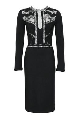 Черное платье с кружевной отделкой Ermanno Scervino 1328171691