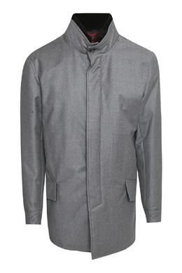 Серое пальто с меховым воротником Isaia 2328171612