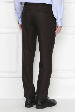 Темно-коричневые брюки из шерсти Incotex 3114173424