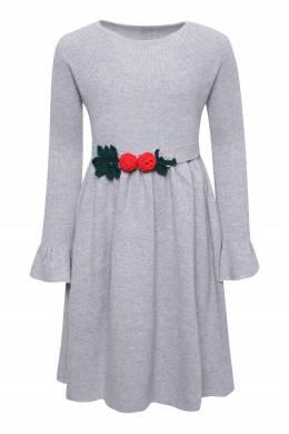 Серое платье с поясом Il Gufo 1205172640