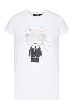 Хлопковая белая футболка с принтом Karl Lagerfeld 682173195