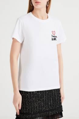 Белая хлопковая футболка Karl Lagerfeld 682173196