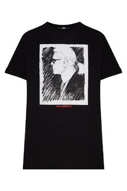Черная футболка с графичным принтом Karl Lagerfeld 682173176