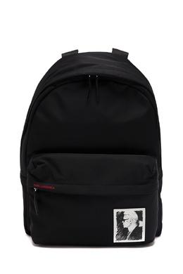 Черный текстильный рюкзак с портретом Karl Lagerfeld 682173431