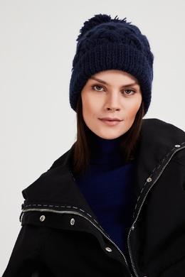 Темно-синяя шапка с узором и помпоном Blank.Moscow 92172837