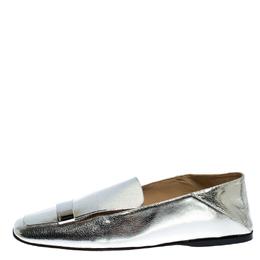 Sergio Rossi Silver Metallic Leather SR1 Loafers Size 41 252032