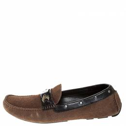 Dolce&Gabbana Brown Suede And Leather Logo Plate Slip On Loafers Size 43