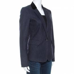 Joseph Navy Blue Wool Prisca Small Stripe Blazer S