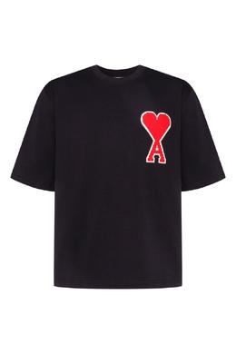 Черная футболка с крупной аппликацией Ami 1376173903