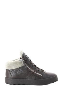 Ботинки из черной кожи с белым мехом Giuseppe Zanotti Design 2096174311