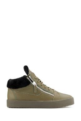 Ботинки из оливковой кожи с мехом Giuseppe Zanotti Design 2096174309