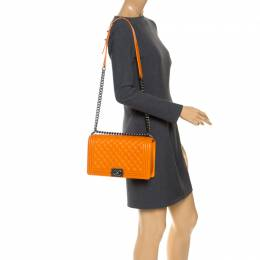 Chanel Orange Quilted Leather New Medium Boy Flap Bag 253434