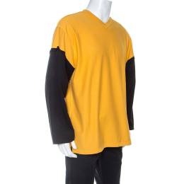 Vetements Bicolor Knit Logo And Patch Detail Long Sleeve T-Shirt S 254383