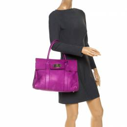 Mulberry Fuschia Grained Leather Bayswater Satchel 253179