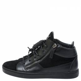 Giuseppe Zanotti Design Black Suede And Leather High Top Sneakers Size 37