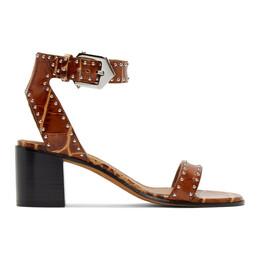 Givenchy Brown Croc Studded Elegant Sandals BE302LE0B6