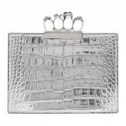 Alexander McQueen Silver Croc Small Four Ring Clutch 5705831RFDY