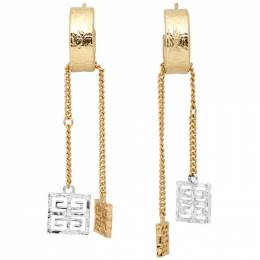 Givenchy Silver and Gold 4G Charm Earrings BF10E6F00R