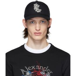 Alexander McQueen Black Ivy Monogram Cap 6013644C09Q