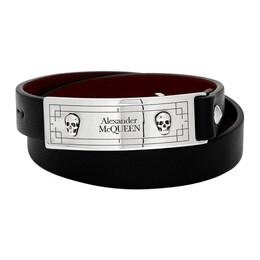 Alexander McQueen Black Snake Tag Wrap Bracelet 6025641BU0Y