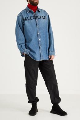 Джинсовая рубашка Chest Logo Balenciaga 397174016
