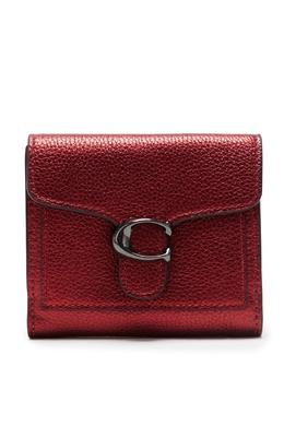 Темно-красный кожаный кошелек с фигурным клапаном Coach 2219173884