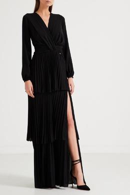 Черное мини-платье с драпировками Elisabetta Franchi 1732162314