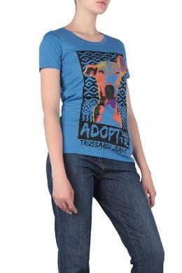 Синяя футболка с анималистичным принтом Trussardi Jeans 3074174310
