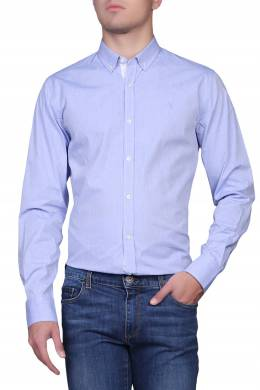 Голубая рубашка с белым узором Trussardi Jeans 3074174794