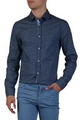 Синяя рубашка с геометрическим узором Trussardi Jeans 3074174786