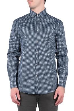Синяя рубашка с узором Trussardi Jeans 3074174783