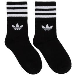 Adidas Originals Three-Pack Black Solid Crew Socks DX9092