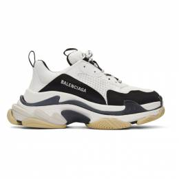Balenciaga Black and White Triple S Sneakers 536737-W09OM