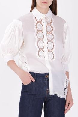 Белая блуза с кружевом Ermanno Scervino 1328174702