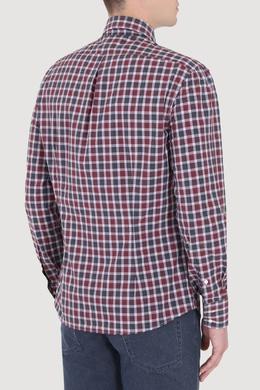 Бордовая рубашка в клетку Brunello Cucinelli 1675175173