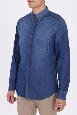 Синяя рубашка из денима Brunello Cucinelli 1675175179