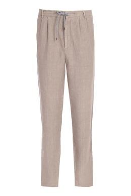 Бежевые брюки из льна Brunello Cucinelli 1675175176