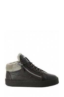 Ботинки из черной кожи с мехом Giuseppe Zanotti Design 2096174278