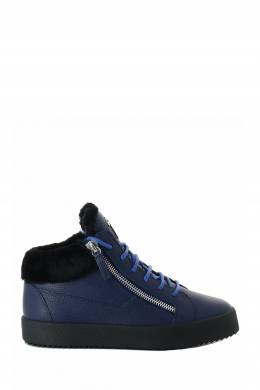 Синие утепленные ботинки из кожи и меха Giuseppe Zanotti Design 2096174312